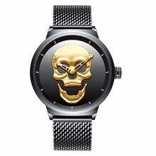 Men Watches Luxury Gold Skull Dial Men Black Sport Watch Stainless Steel Mesh Band Waterproof Male Wrist Watch bayan kol saati