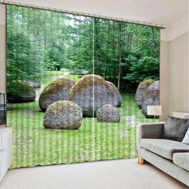 Custom 3d stereoscopische gordijnen Grote steen jungle slaapkamer ...