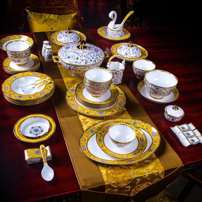Jingdezhen Chinese style palace enamel tableware 80 pieces of bone china dishes home hotel porcelain wedding