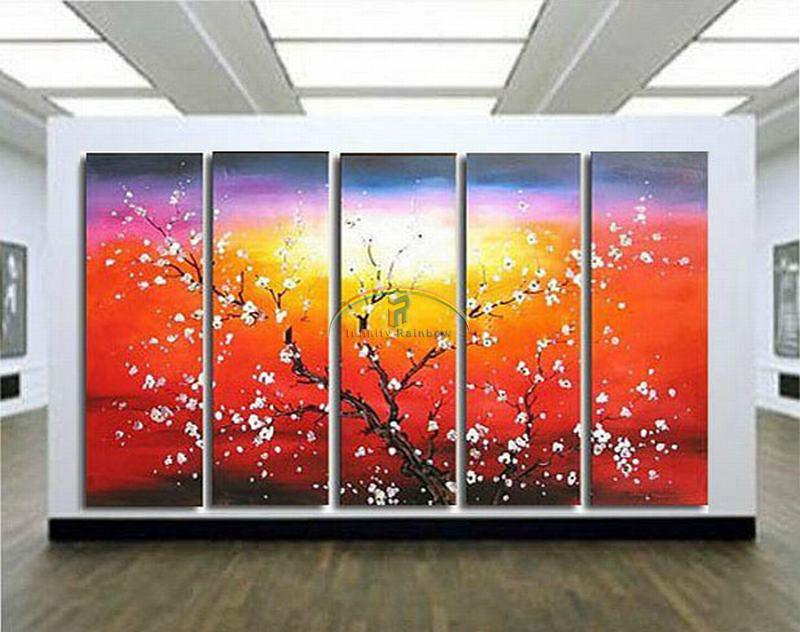 2016 Home Decor Hot Sale Cuadros Sunrise Blossom Oil Painting Wall Art Hand painted Modern On