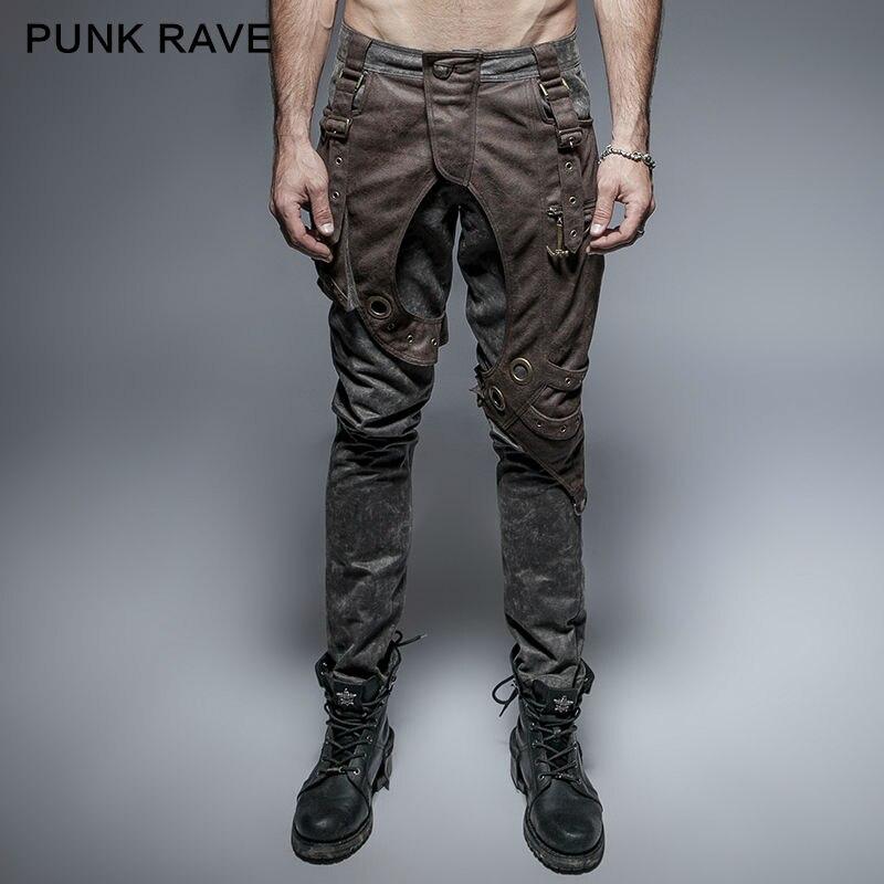 Панк рейв мужские s брюки стимпанк Толстые мужские военные стиль Рок карманные брюки крутая одежда хип-хоп брюки уличная одежда брюки