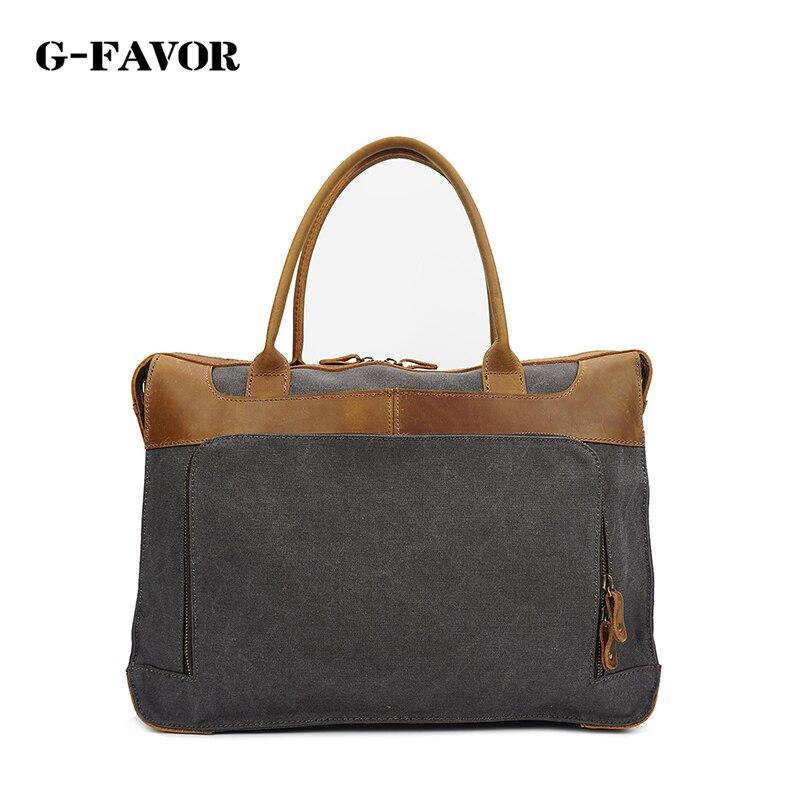 G-FAVOR Vintage Canvas Leather Messenger Traveling Briefcase Shoulder Laptop Bag цена