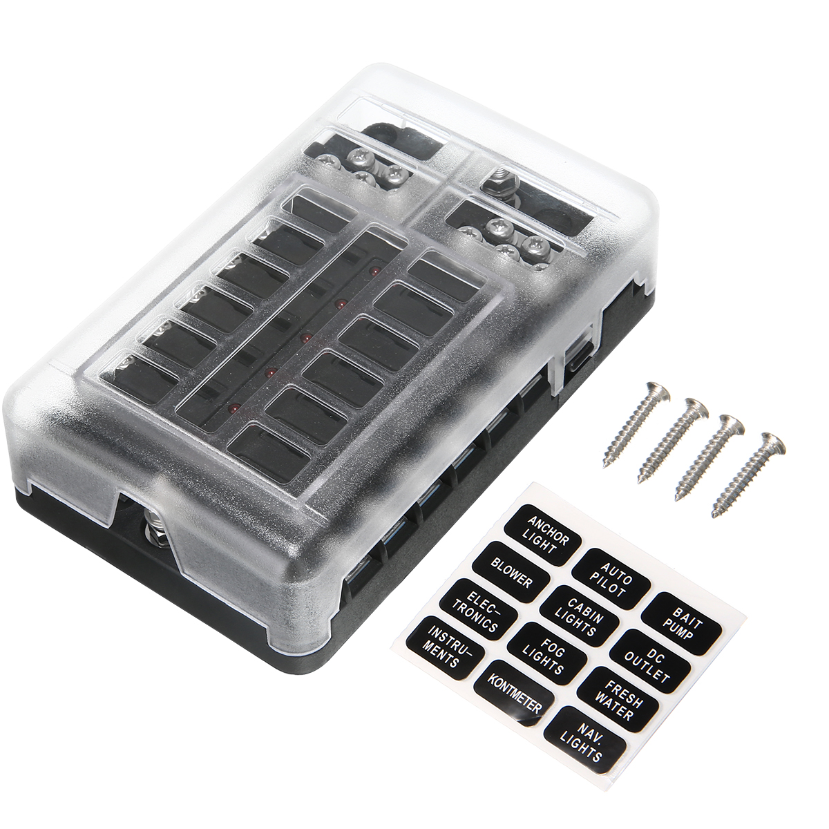 DC 12-32V 100A 12 Way Fuse Box Car Truck Boat Bus Power Distribution Block Double Busbars 12-way with screws&labels
