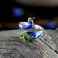 KJJEAXCMY fine jewelry 999 sterling silver taiyin phoenix ring female index finger vintage court personality fashion
