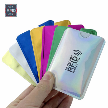 Anti Rfid Wallet Blocking Reader Lock Bank Card Holder Id Bank Card Case Protection Metal Credit Card Holder Aluminium 6*9.3cm