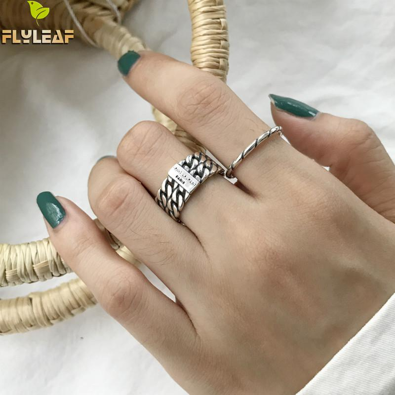 Flyleaf 925 Sterling Silver Rings For Women Personality Vintage Lines Ins Style High Quality Fashion Jewelry Open Ring Femme