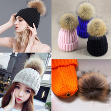 Oversized raccoon fur ball wool cap removed push ball winter hats for women thicken warm knitted Beanies Girl Curling knit cap