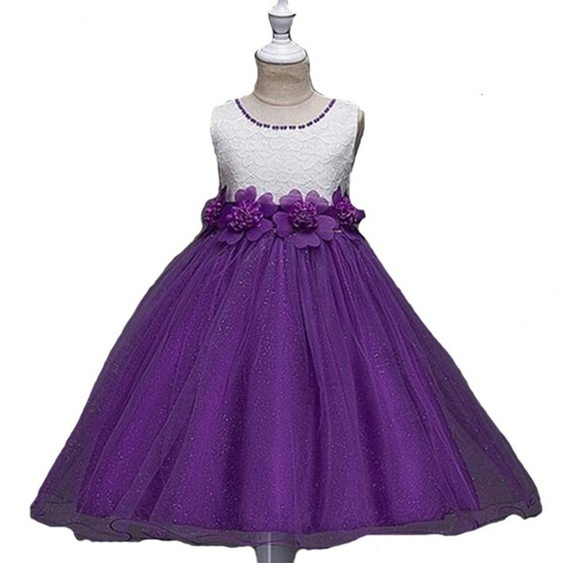 7 colors Summer kid clothes princess dresses girls flower belt lace Dress shiny mesh party costume girls dress Children Clothing 2017 girls summer spring dress children adorable princess dress adolescent kid party dresses 6 7 8 9 10 11 12 years kids clothes