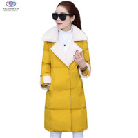 2017 Winter Women Coats Slim Thick Turn Down Collar Medium Long Down Cotton Jacket Casual Warm