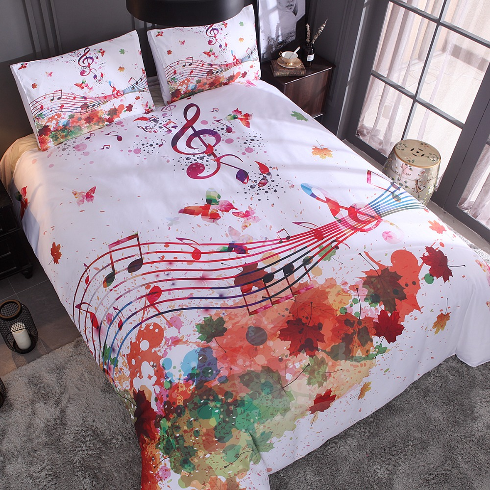 Nordic Adults Bed Linens Bedclothes Maple Leaves Music Notes Bed Bedding US Queen Twin Q ...