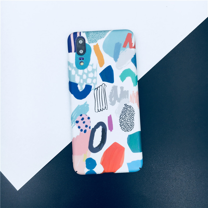 Meachy INS Style Simple Painting Phone Case For Huawei P20 Pro P10 Plus Honor 9 10 Hard Fundas Cover For Huawei P20 Lite Case