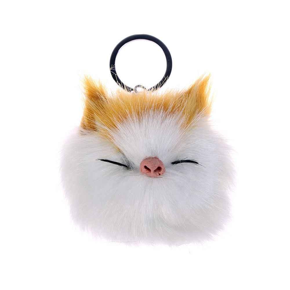 Dormir bonito Sorriso Gato Keychain Chaveiro Top Quality Charme Bola De Pêlo Pompom Pingentes Chave Do Carro Cadeia de Acessórios de Jóias