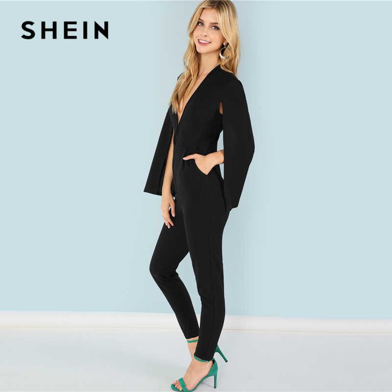 Шеин черный Highstreet офисные женские туфли Погружаясь средства ухода за кожей Шеи плащ рукавом современный сексуальный Макси конические