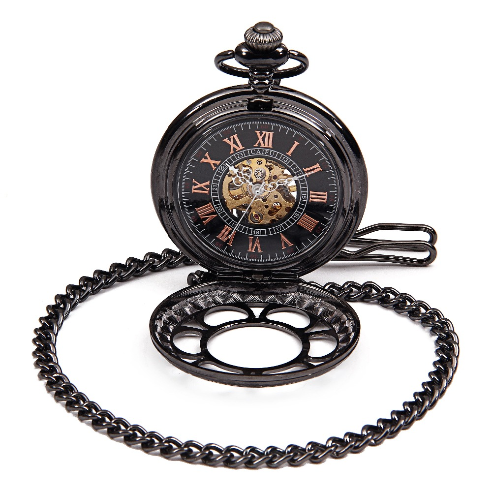 Reloj Steampunk Mens Titanium Mechanical Pocket Watch Vintage Pendant Black Pendant Watch Chain Orologio Da Tasca