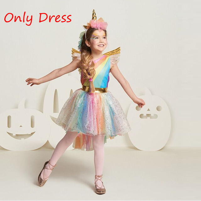 3-8 Years Unicorn Dress for Girls New Year Party Clothing Kids Princess Colorful Knee-Length Ball Gown Dresses without Wings
