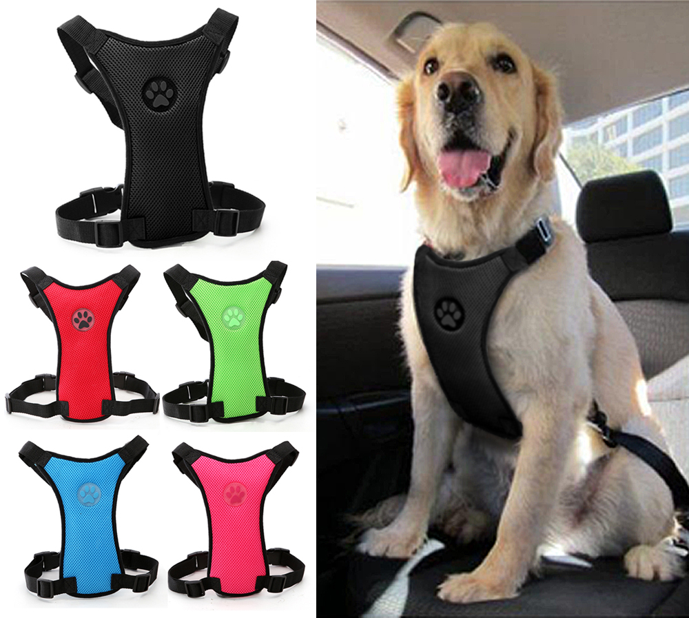 Lembut Nylon Mesh Dog Harness Kursi Mobil Keselamatan Anjing Kendaraan Mobil Sabuk Pengaman Harness Warna Hitam Merah Biru Untuk Anjing Besar Menengah