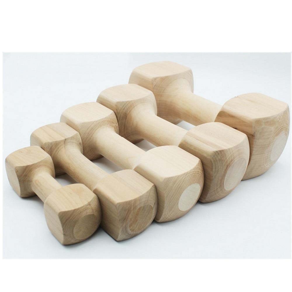 5PCS Hateli Solid Wood Bone Dumbbell Dog Toy Pet Bite Rubber Molar Bone Bite Resistant Toy