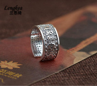 Lengkea jewery Real 990 sterling silver ring Retro six word mantra Heart Sutra opening ring men ring women jewelry charm trinket