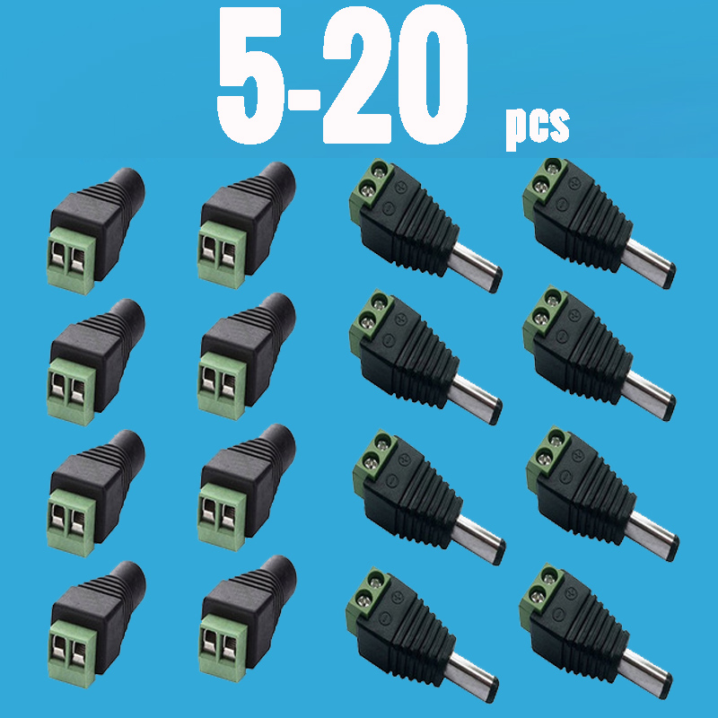 2.1x5.5MM DC Power Male Plug Jack Adapter LED Female Plug Connector for 5050 3528 5630 2835 LED Strip Tape sxzm 10pcs lot dc female connector 2 1 5 5mm dc power jack adapter plug connector for 3528 5050 5730 single color led strip