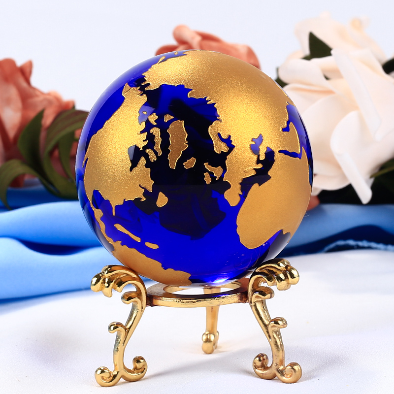 60mm Blue Colored Earth Crystal Model Ball Glass Globe With a Base - Home Decor - Photo 1