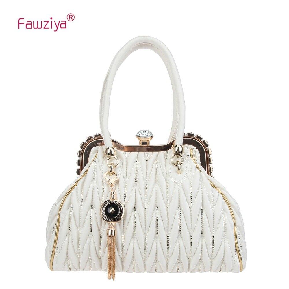 Fawziya Sequins Tote Bag For Women Big Crystal Shoulder Bag Tassel Handbag For Working
