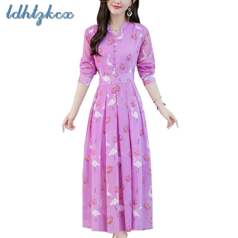 Office La Rose Lady Soie Imprimer Nouvelle Automne Robes pink À Ld526  coréen Printemps Manches 2019 Robe ... 40b7a843d25