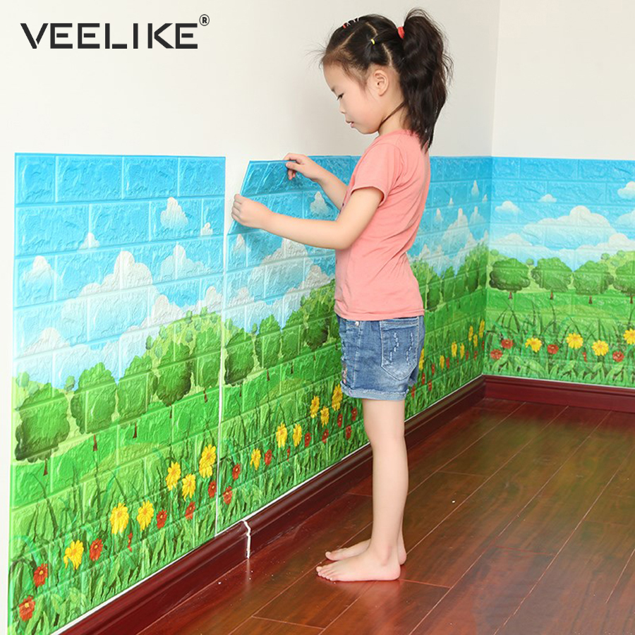 Anti Collision 3D Wall Panel For Kids Room Decor 3D Brick Wallpaper For Living Room Bedroom Decor Self Adhesive Wall Paper Brick