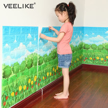 Anti Collision 3D Wall Panel for Kids Room Decor 3D Brick Wallpaper for Living Room Bedroom Decor Self adhesive Wall Paper Brick(China)