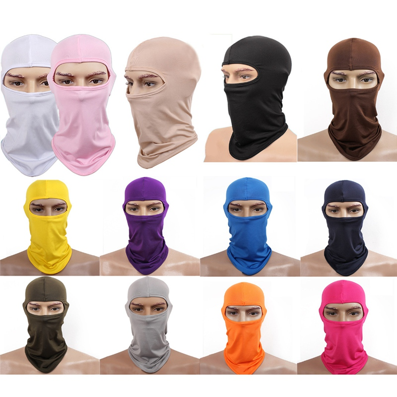 New Lycra Neck Hood Full Face Mask Skullies Balaclava Headwear For Bike Motorcycle Breathable Masks Solid Beanies