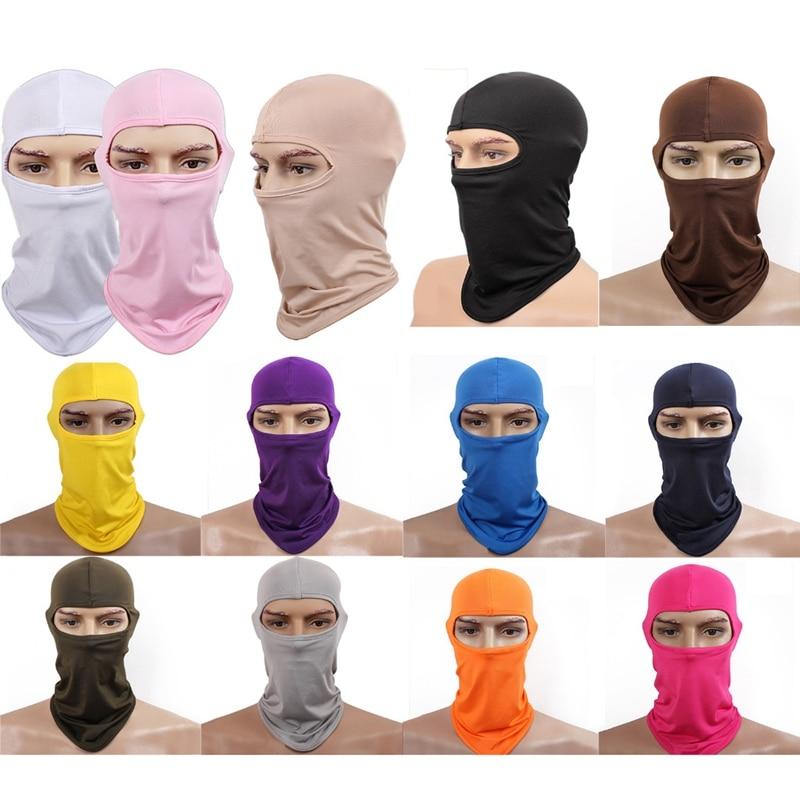 New Lycra Neck Hood Full Face Mask Skullies Balaclava Headwear For Bike Motorcycle Breathable Masks Solid Beanies