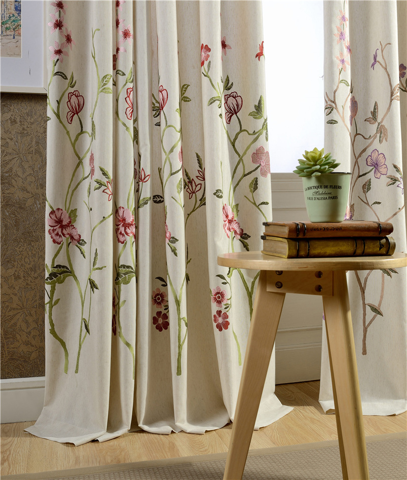 2016 New Style Linen Curtain Fabric Winth Embroidered