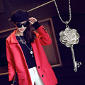 S1925 Silver Plated Rhinestone Collier Rose Key Necklaces & Pendants For Women Long Necklaces Wholesales