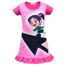 Купить с кэшбэком New Wreck-It Ralph Girls dress middle and small child short-sleeved Sleep dress European and American summer long girls pajamas