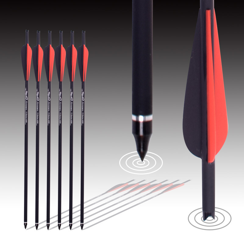 24Pcs Red And Black White Feather  Target Arrows Crossbow Carbon Arrow 16/20 Inches Spine 400 For Crossbow Archery Hunting Shoot