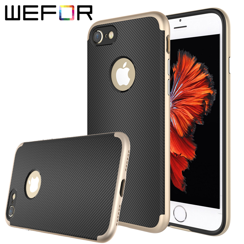 WeFor Original Shockproof Phone Cases For iPhone 7/7 Plus/7 Pro Hybird Hard Rugged Rubber Shell Cover Brand Case w/Screen Film
