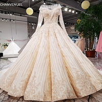 LS39910 2018 New Arrival Champag Satin Flowers Hand Working Beadings Long Train Wedding Dress Real Picture