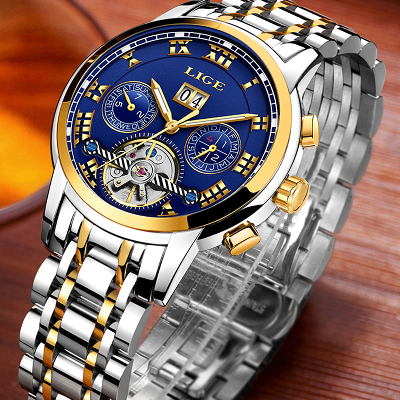 Relogio Masculino Mens Watches Top luxury brand LIGE Watch Men Automatic mechanical Wristwatch Military Sport Waterproof Clock-in Sports Watches from Watches    2