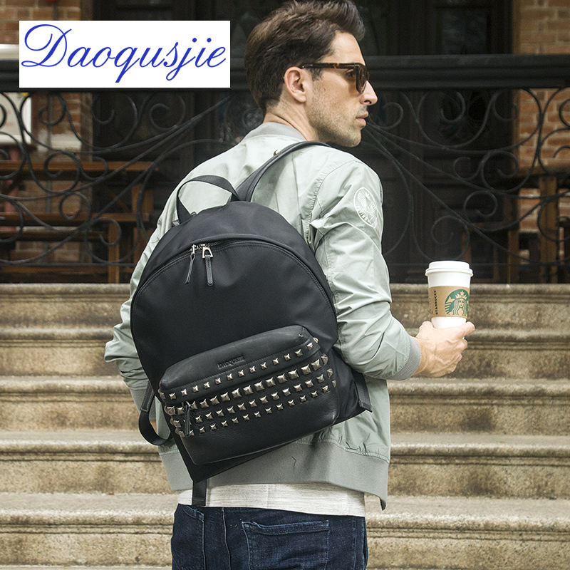 DAOQUSJIE men backpacks nylon waterproof fashion school bag man daypack genuine leather teenager backpack male travel bag luxury men original leather fashion travel university college school book bag designer male backpack daypack student laptop bag 9950