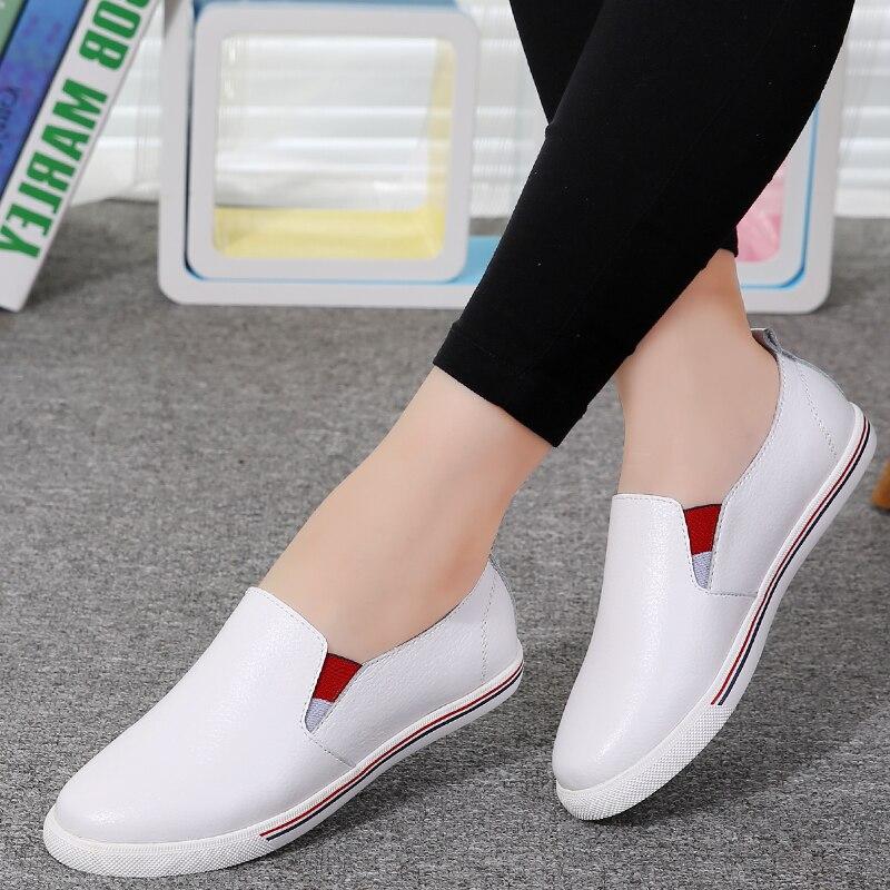 Chaussures Bateau Véritable Blanc Sur Printemps En 2018 Glissement Occasionnels Mocassins Dames Ballet Vulcaniser De Appartements Cuir white Toile Sneakers Femmes Black P0Zxwtw