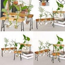 Террариум креативный гидропонный завод прозрачная ваза деревянная рамка ваза декоративная стеклянная столешница растение бонсай Декор Цветочная ваза