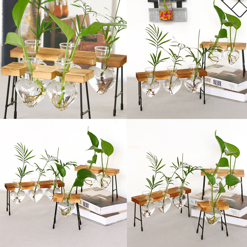 Teraryum yaratıcı topraksız bitki şeffaf vazo ahşap çerçeve vazo dekorasyon cam masa bitki Bonsai dekor çiçek vazo
