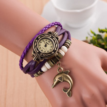 reloj mujer bracelet  wrist watches ladies quartz vintage women watch color leather wooden beads band with dolphin pendant T3468