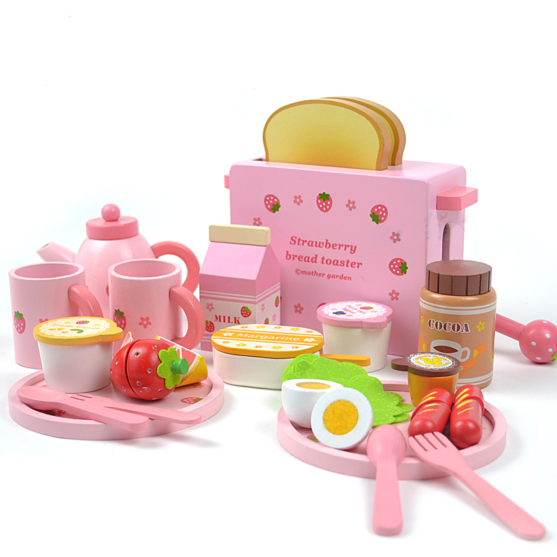 Mother garden children's wood playhouse game toy toast bread toaster wooden child kitchen toys set детская сумка 004 mother garden