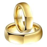 צבע זהב 1 זוגות זוג טונגסטן קרביד טבעות סט Comfort Fit תכשיטי אופנה לגברים נשים חתונת אירוסין בנד