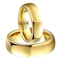 1 Pair Gold Color Tungsten Carbide Couple Rings Set Comfort Fit Wedding Engagement Band Fashion Jewelry for Men Women