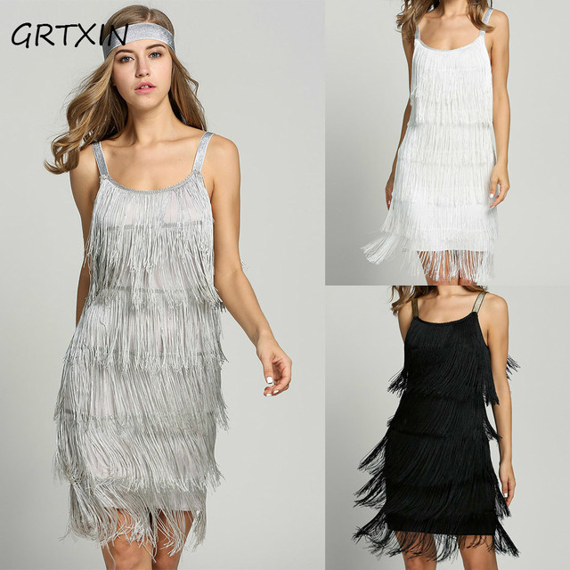 ac5a87c752e79 US $14.9 29% OFF|2018 Straps Summer Gatsby Women'S Size Clothes Glam Women  Costume Long Clothing Party Tassels Flapper Beach Dresses Fringe Dress-in  ...