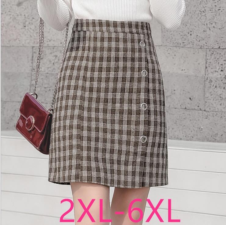 2019 Autumn Winter New Plus Size Elegant Slim High Waist Sexy Plaid OL Work Skirt Khaki Woman Large Size Skirts 3XL 4XL 5XL 6XL