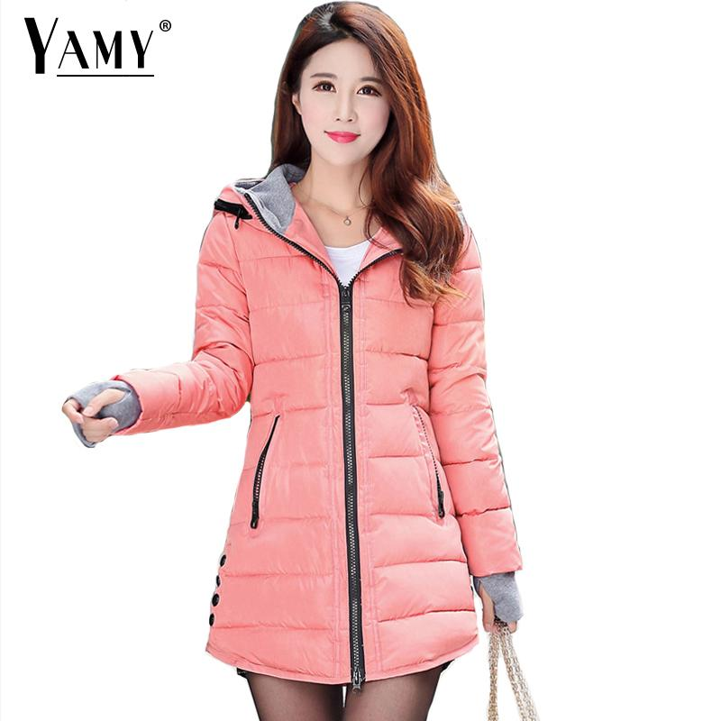 2018 Winter hooded pink Down Jacket women yellow padded long coat long sleeve Zipper   Parkas   coat Plus Size jaqueta feminina