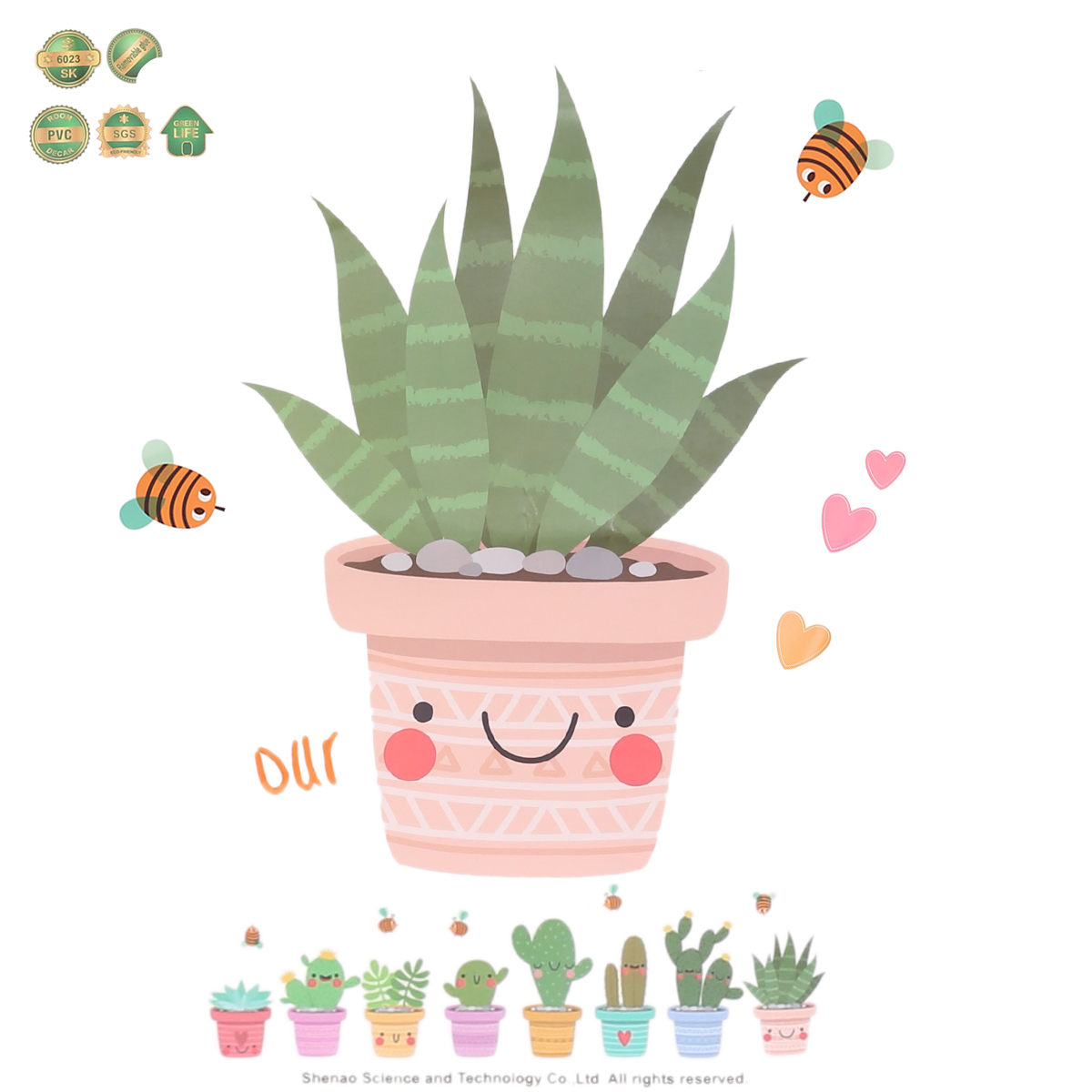 "Wall Sticker Window Decals Pot Flower Cactus Vinyl Decor DIY /""Pot Culture/"" UK"