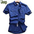 2017 Summer Men Short-sleeved Shirt Fahion Lapel Collar Casual Pure Color Thin Shirt Slim Cotton Handsome Shirt New AFS JEEP 55